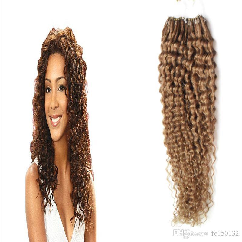 Light Brown Micro Loop Remy Extensões de Cabelo 100 g / pçs micro loop 1g encaracolado micro bead extensões de cabelo