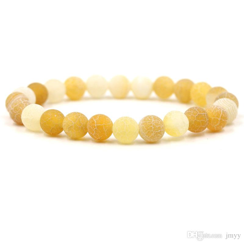 Natural Stone 8 mm Weathering Agate Bracelet Black Red Yellow Yoga Beaded Bangles For Friend Gift