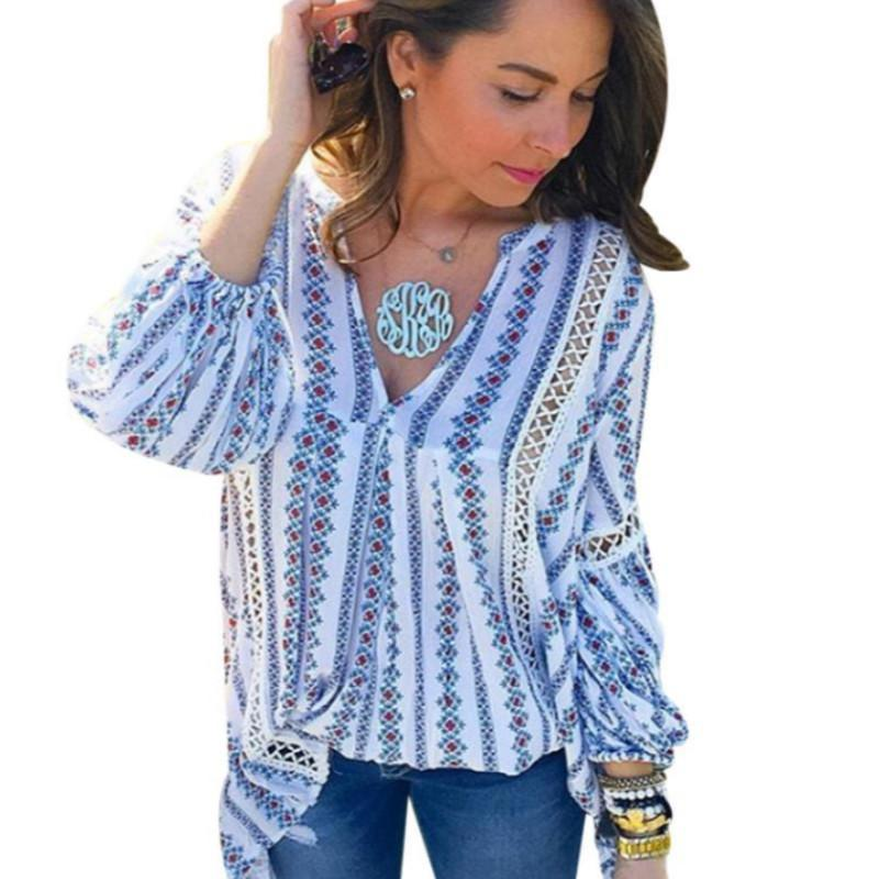 80127b977b7 2019 2018 Summer Hollow Out Ladies Boho Tops Long Sleeve Womens Sexy ...