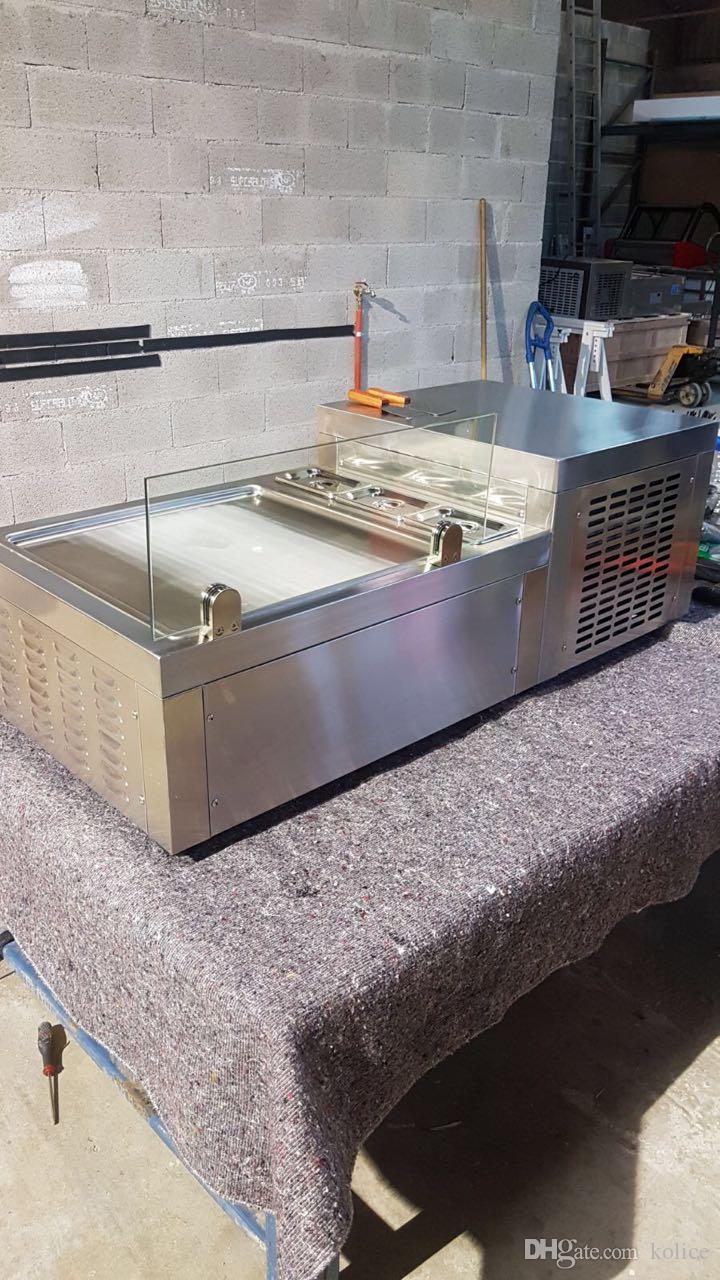 Бесплатная доставка до двери ЕС США столешница 50*50 см кастрюля мгновенная столешница жарить мороженое машина Жареное мороженое рулон машина с хладагентом