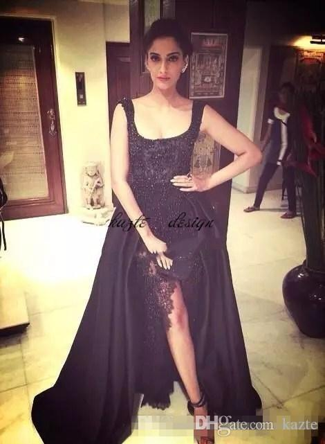 2018 Elie Saab Sonam Kapoor Occasion Prom Gowns Hot Sexy Black Lace Pearls Crystal over skirts Split Evening Dresses Dubai Saudi Arabic