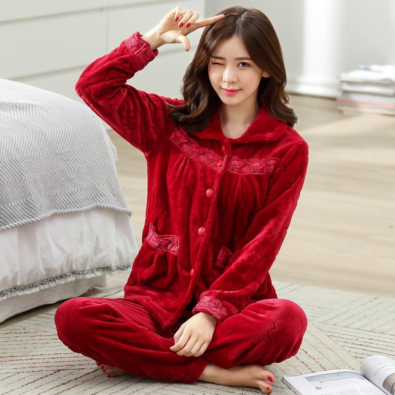 52b74268e7 2019 Women Winter Warm Flannel Pajamas Female Coral Fleece Pajama Sets  Sleepwear Velvet Long Sleeve Casual Nightgown D 2054 From Unclouded01