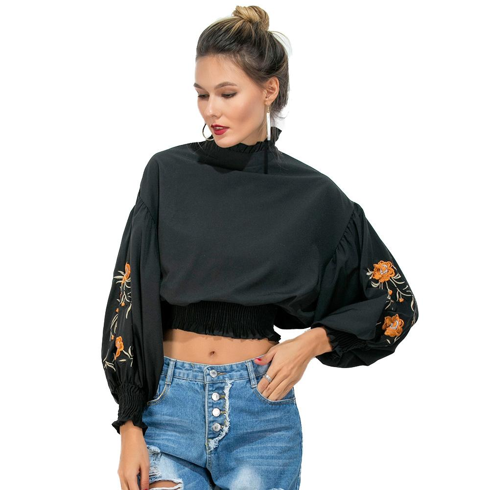 de7e415c2 Compre Mulheres Do Vintage Blusa Smocked Floral Bordado De Alto Pescoço  Camisas Femininas 2017 Gota Ombro Puff Manga Elegante Senhoras Tops De  Liasheng07