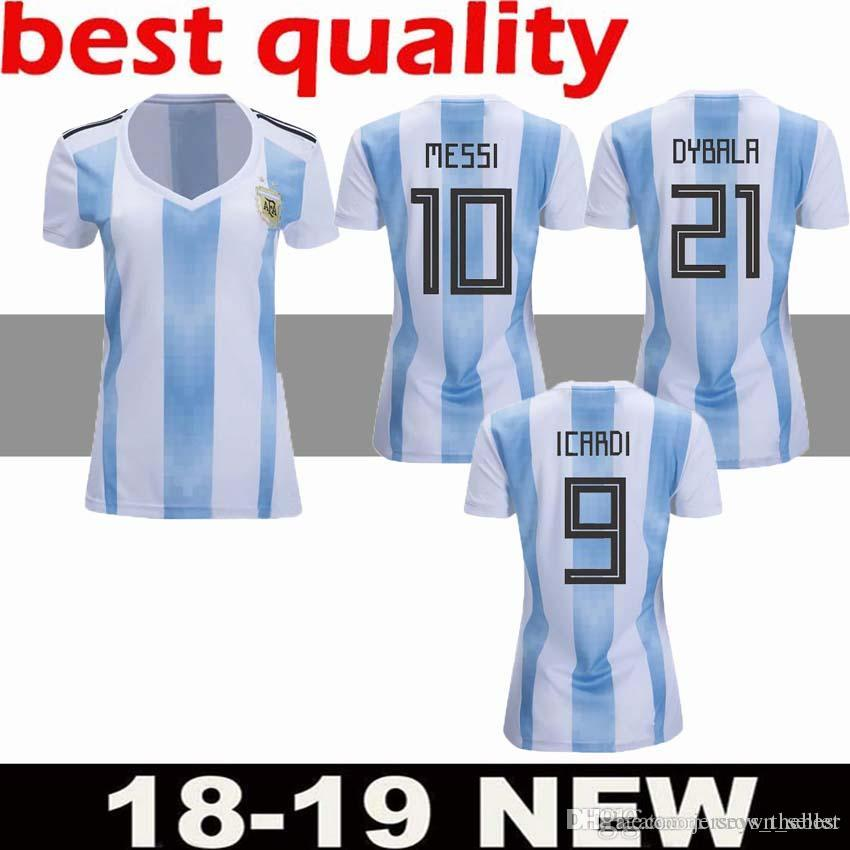0618e6f32 2018 Argentina Home Soccer Jerseys Women s World Cup 18 19 Football Jersey  MESSI DYBALA Ladys Shirts Female Top Thai Quality Sports Uni Argentina  Soccer ...