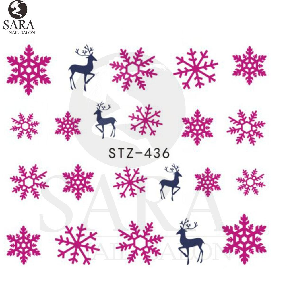 art water nail salon 1sheet xmas christmas nail art water decals pink snowflake snowman transfer stickers sastz436 nail polish designs nail stickers from