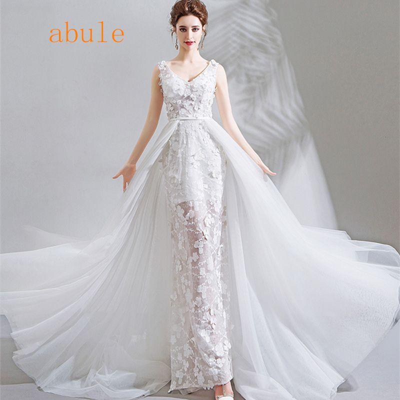 Grosshandel Meerjungfrau Hochzeitskleid Spitze Mit Abnehmbaren Zug
