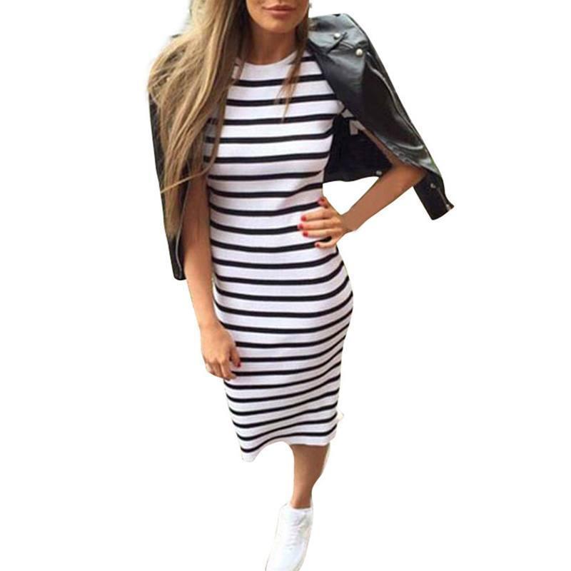 1319fcff3 Compre 2018 Moda Mujer Verano Raya Vestido Largo Maxi Boho Beach Sundress A   26.34 Del Fafachai05