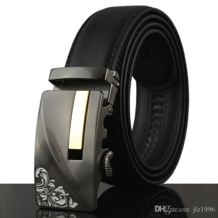 f0fae125c28 2018 Large Size Black Cowhide Leather Men S Belt Men S Luxury Automatic  Buckle Belt Personalized Engraved Buckle Leather Belt Myself Belts Money  Belts From ...