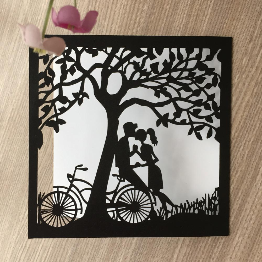 Laser Cut Tree Pattern Invitations Card Romantic Wedding Invitations