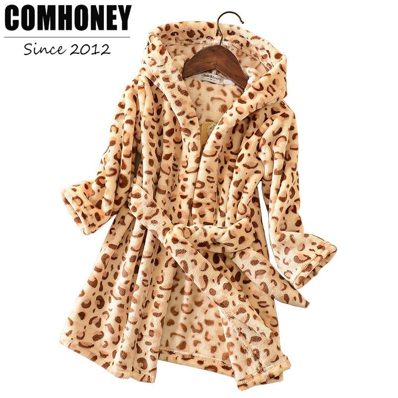 Children\'S Bathrobes For Baby Leopard Boys Girls Dressing Gown Kids ...