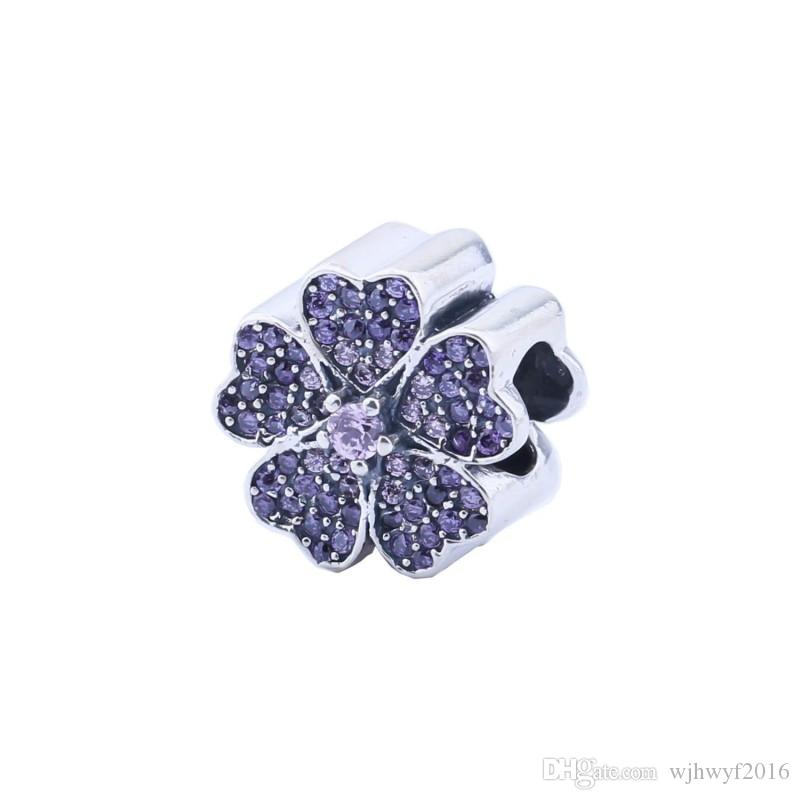 Apple Blossom Charms Beads Authentic 925 Sterling-Silver-Jewelry Purple Crystal Flower Bead DIY Brand Charm Bracelets Accessories HB189