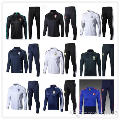 cbab8afc3 2018 World Cup Fr GRIEZMANN POGBA Kit Colombia Soccer Tracksuit 18 19 Spain  Argentina Messi Chandal Football Jacket Training Suit UK 2019 From Mili303
