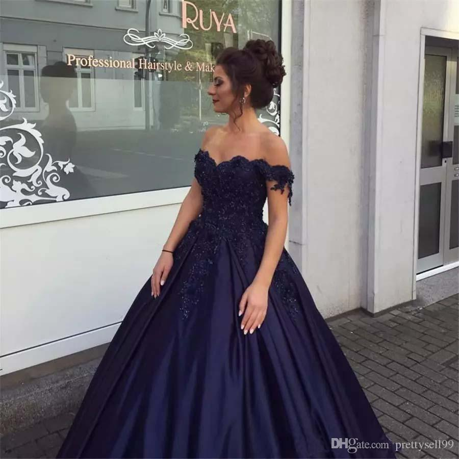 092a9179841 Custom Off The Shoulder Lace Prom Dresses 2018 With Applique Beaded Satin  Sweep Train Ball Gown Formal Evening Gowns Prom Dresses For Teens Prom  Dresses ...