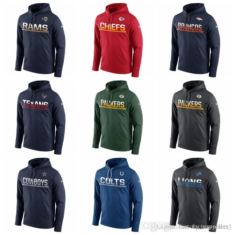 9bb930c2 Mens Dallas Cowboys Denver Broncos Detroit Lions Green Bay Packers Sideline  Circuit Pullover Performance Hoodie Top Quality 100% Cotton