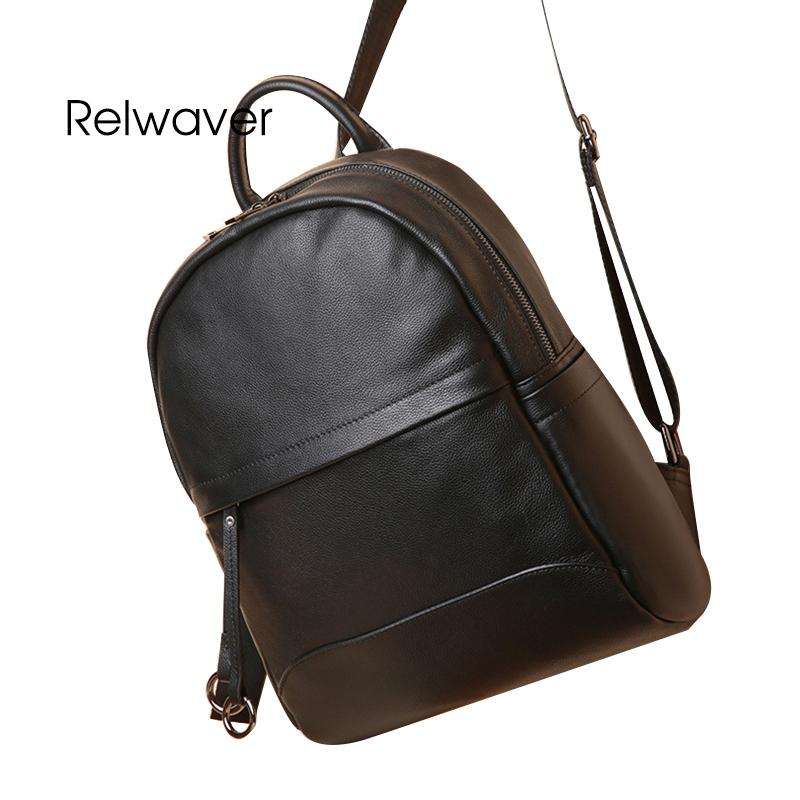 0632ead958a8 Relwaver Big Genuine Leather Backpack Brief Soft Thin Pattern Cow Leather  School Bags Men Women Black Laptop Travel Backpack Best Laptop Backpack  Wheeled ...