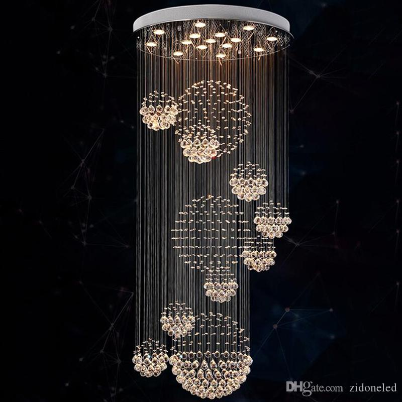 pick up 7531b 5118e Modern Chandelier Rain Drop Large Crystal Light Fixture with 11 Crystal  Sphere Ceiling Light Fixture 13 GU10 flush ceiling Stair lights