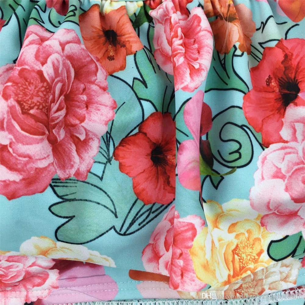 Bikini con spalle scoperte Donna con stampa floreale Costumi da bagno push up Costume da bagno con volant Bikini con scollo a balze Biquini Costume da bagno rosso Beachwear