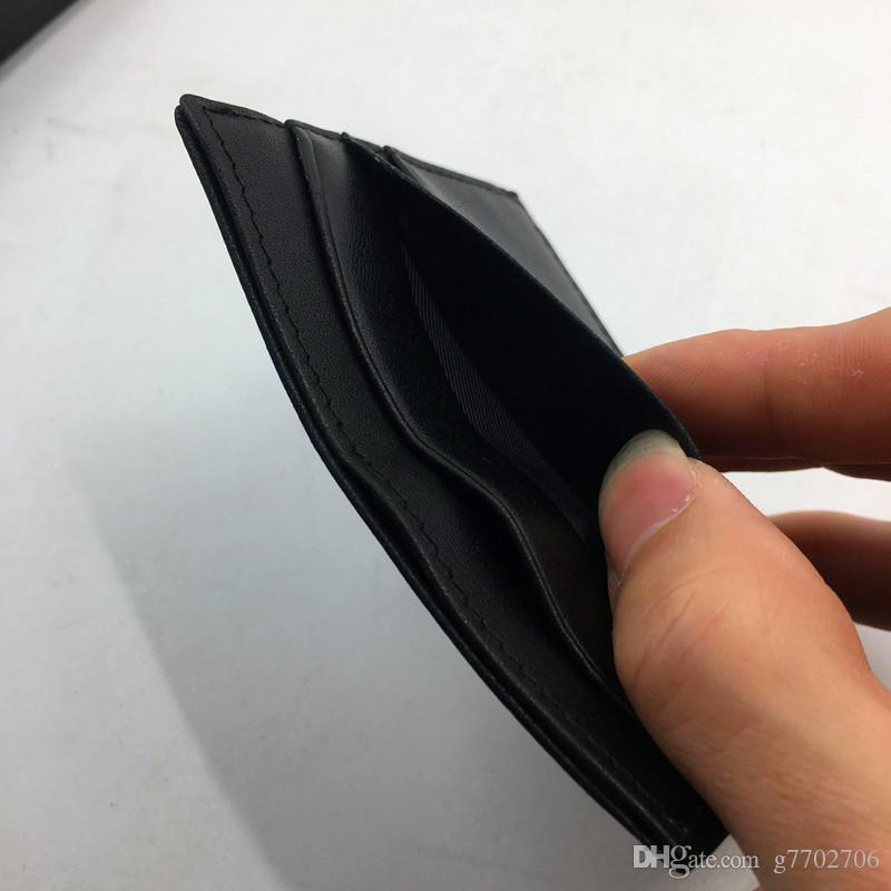 Черный Натуральная Кожа Держатель Кредитной Карты Кошелек Высокого Качества Тонкий Банк ID Card Case Кошелек для Монет 2018 Новая Мода Карманная Сумка для Делового Человека