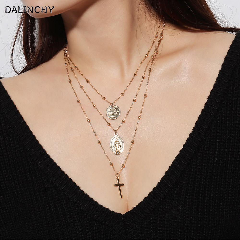 a5d171ce8dd 2019 Fashion Gold Color Coin Virgin Mary Cross Pendant Layered Necklace  Women 2018 Modern Woman Chains Jewelry Collier Long Necklaces From  Ravishing