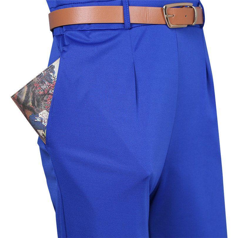 New Women Ladies Sleeveless V Neck Wide Leg Jumpsuit Romper Trousers Pants with Belt Womens Jumpsuit Long Pants Rompers