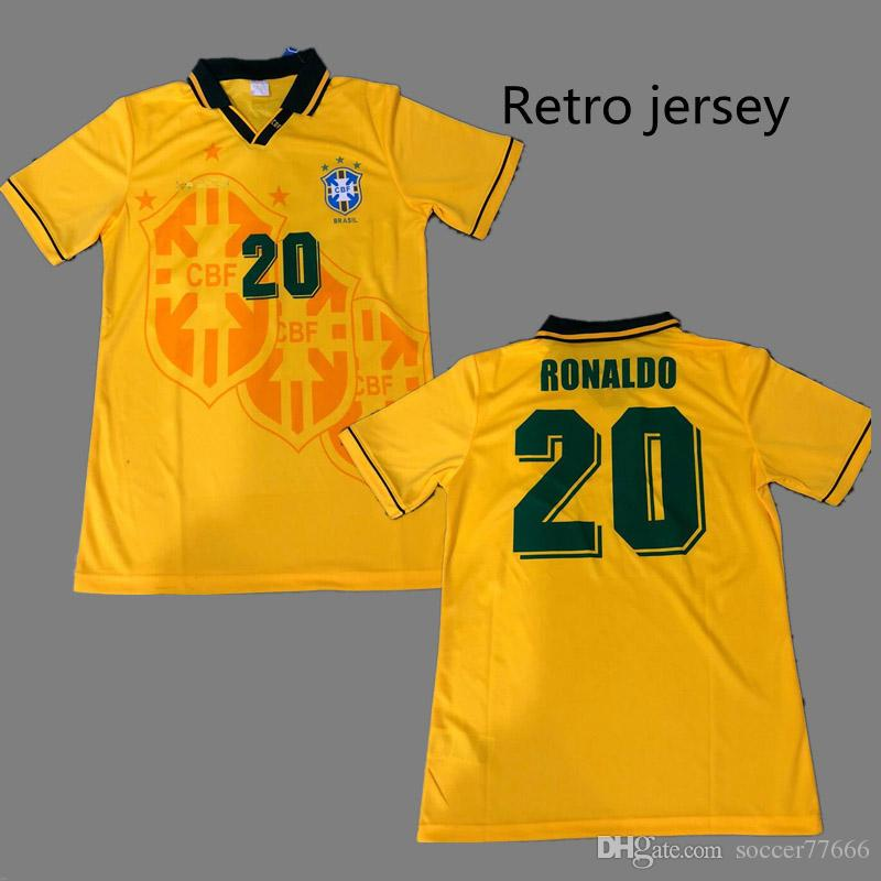 2019 1994 Brazil Retro Soccer Jerseys  11 ROMARIO  20 RONALDO Best Quality  Brazil World Cup 1994 Football Jersey Can Custom From Soccer77666 f4a3d3f39