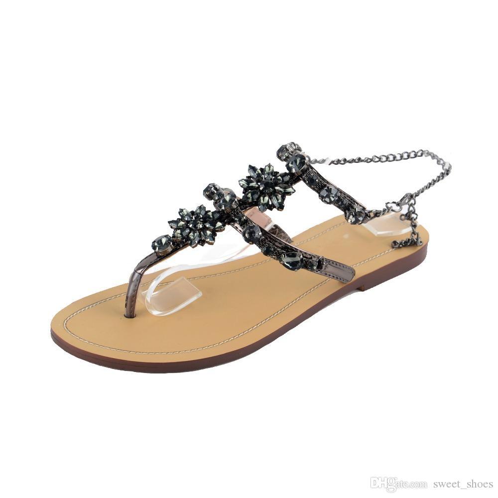 996991c138d7 Compre Negro   Plata   Oro Sandalias De Las Mujeres De Moda Zapatos De  Mujer Cadenas De Pedrería Tanga Gladiador Plana Chancletas Sandalias Más El  Tamaño 34 ...
