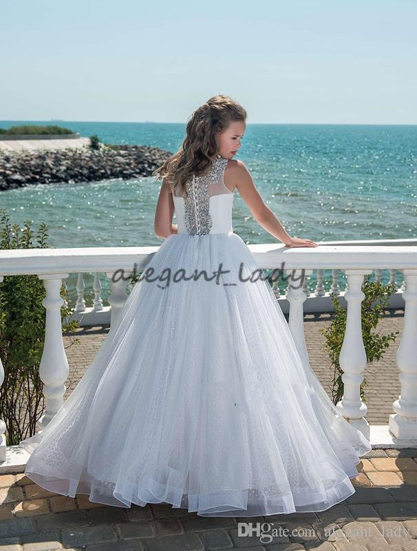 Düğünler Özel Made hakkında Gençler Tül Kat Uzunluk Plaj Çiçek Kız Elbise için 2018 Glitz Boncuklu Kristal Kız Yarışması Elbise