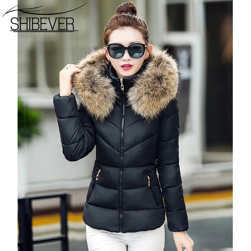 Frauen Parkas Winter 2018 Mode Warmen Mantel Weibliche weiße Pelz Kragen Mit Kapuze Zipper Outwear Frau Kurze Mäntel Jacken