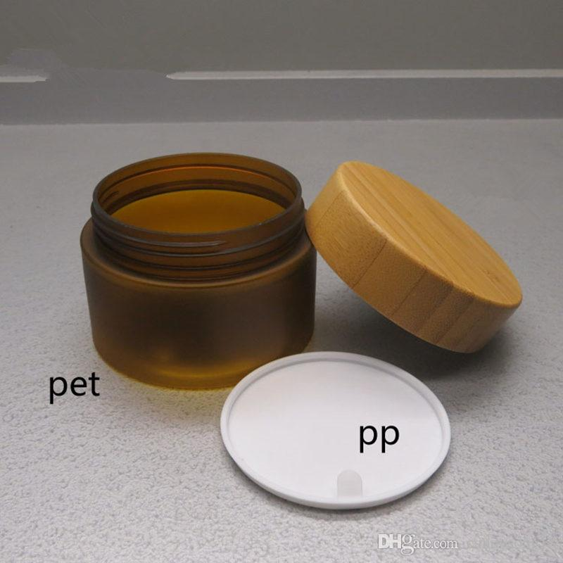 150ml matte brown color PET cream jar with bamboo lid, plastic PET mask cream jar with bamboo cap fast shipping F388