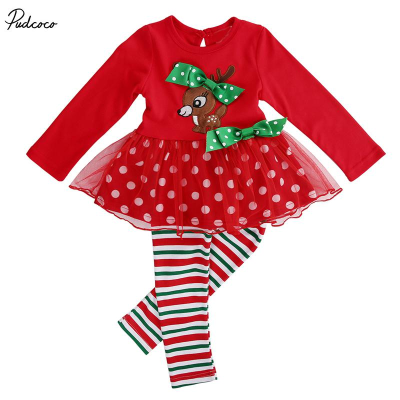 a2f9a3ac052c 2019 Infant Baby Girls Xmas Deer T Shirt Lace Tops+Long Pants Leggings Outfits  Set 1 6Y Kids Girl Christmas Clothing From Luckyno, $20.71 | DHgate.Com