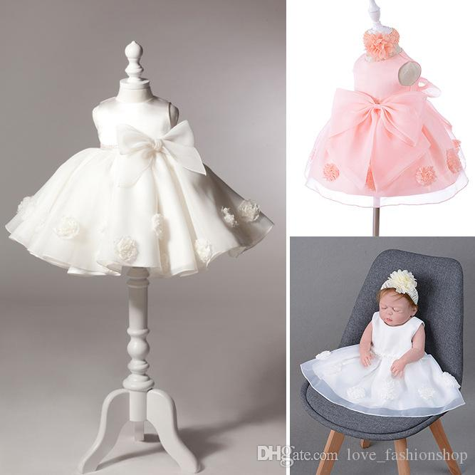 a53cb699d1c9 2019 Baby Girls Big Bow Flower Princess Gauze Pettiskirt Wedding ...