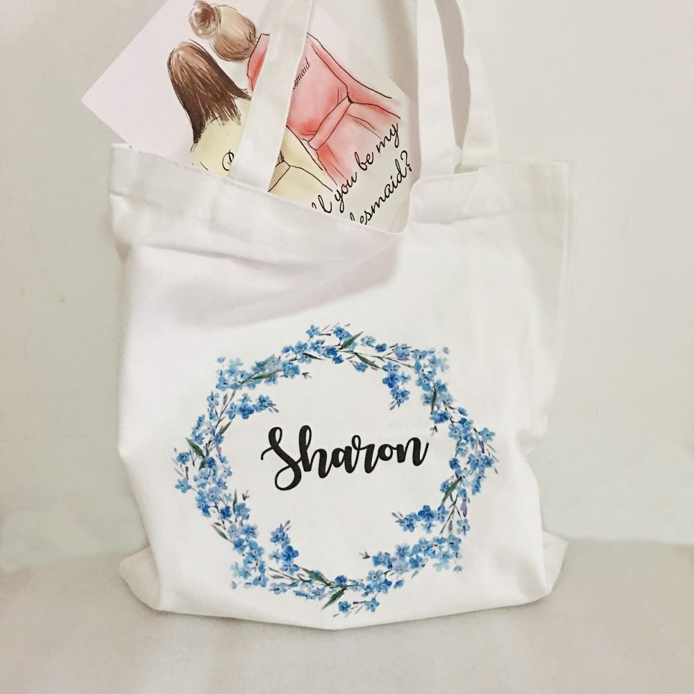 Personalized Bridesmaid Gift Bags Bridal Hen Party Tote Bag Wedding Gifts Package Unique 5pcs Lot Free Shipping