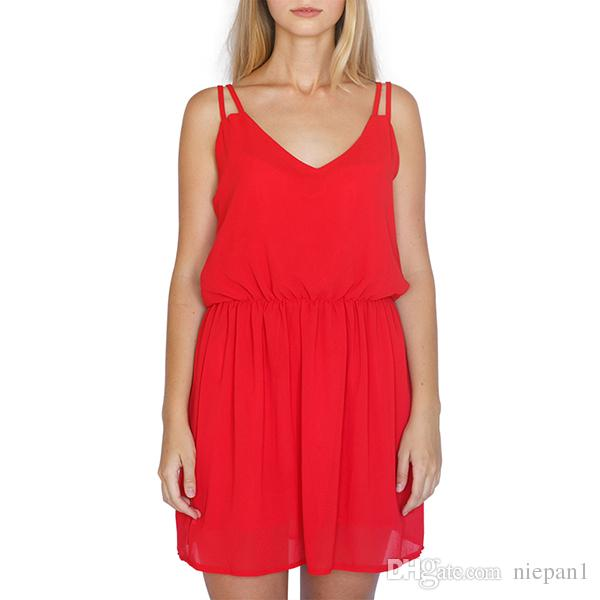 236b52530f0 2018 Summer Style Chiffon Party Dress Women Casual V Neck Beach Dress  Sleeveless Red Black Sweet Mini Dresses Plus Size Evening Dresses For Party  Cocktail ...