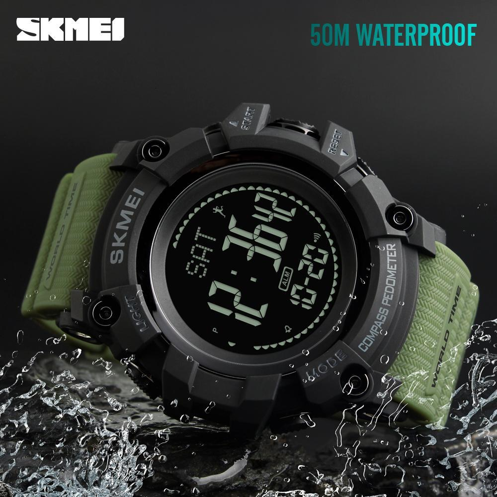 5151204523e SKMEI Sports Watches Waterproof Compass Pedometer Calorie Men Watch World  Time 12 24 Hours Electronic Digital Watch Men Designer Watch Discount Watch  From ...