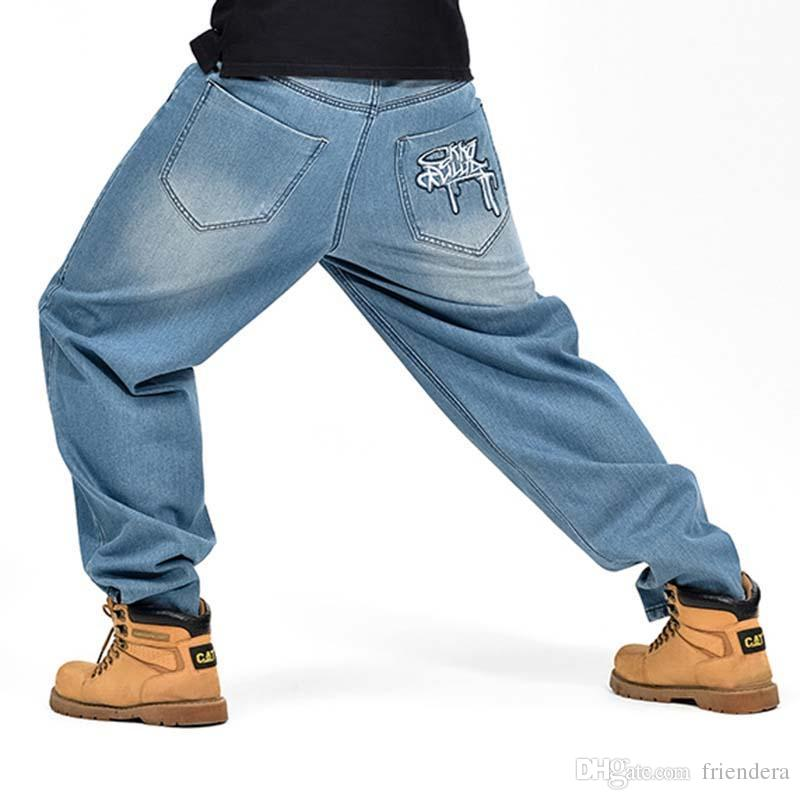 Compre Mens Fashion Painted Jeans Loose Baggy Jeans Pantalones De Mezclilla Harem  Hip Hop Skateboard Plus Size 30 46 A  53.04 Del Friendera  52906bc1d1fc
