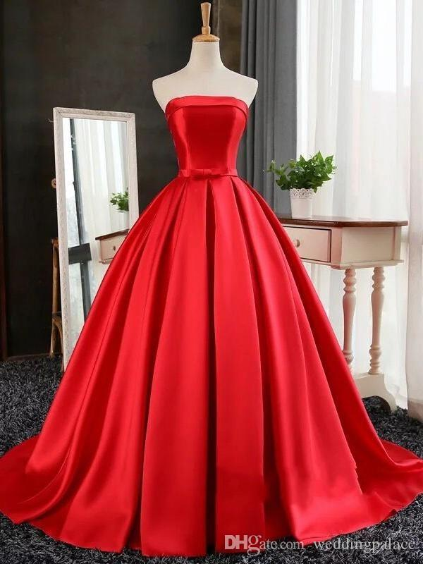 Lovely Red Sweetheart Neck Ball Gown Prom Dresses Satin Lace up Back Sweep Train Formal Evening Dresses Gowns Birthday Quinceanera Dresses