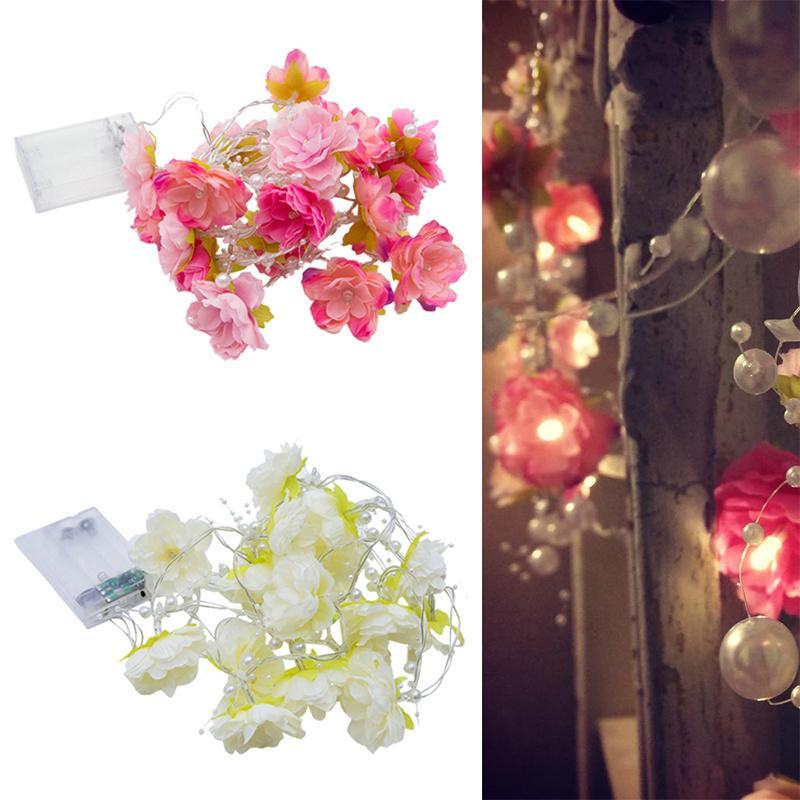 Love Rose Cloth LED String Light 20leds Nightlight Flower Pearl String Lights Wedding Party Valentine's Day Fairy Decor