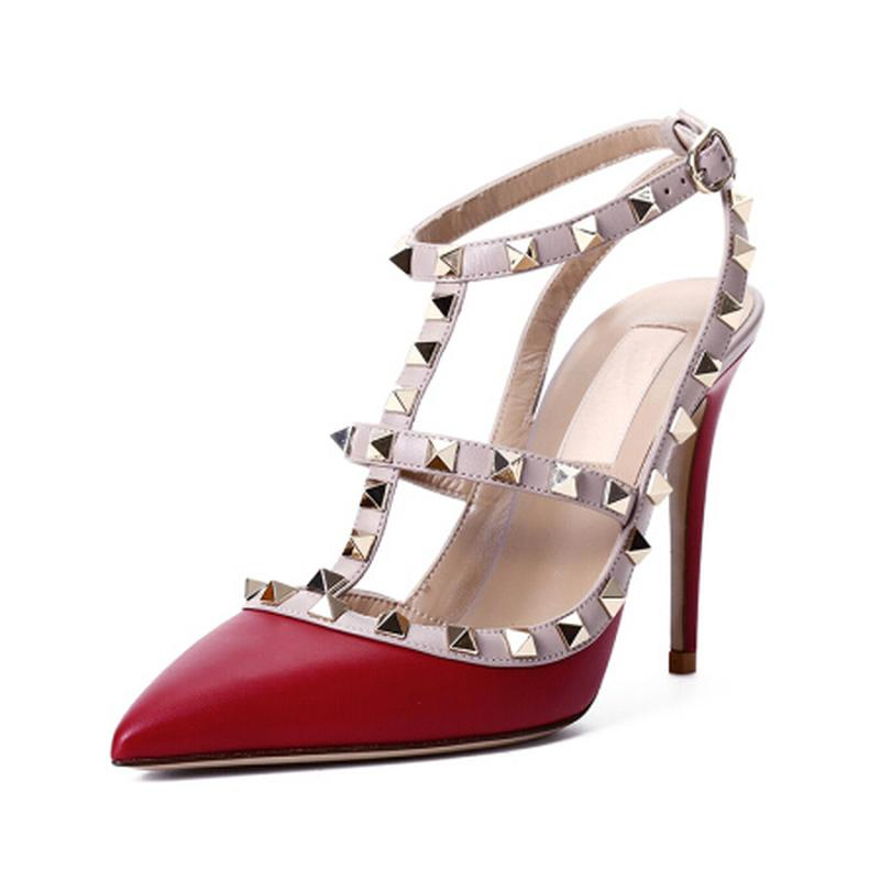 416d39f6a Leather Ladies  High Heels Fashion Stitching Red And Black Metal Rivets  Female High Heels And Casual Sandals 10 Cm High Heel Reef Sandals Gold Shoes  From ...