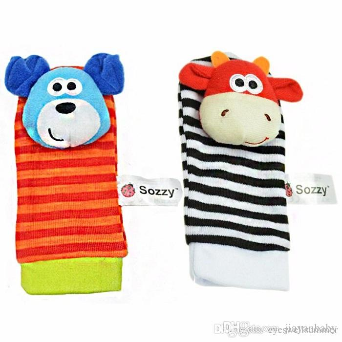 New Lamaze Style Sozzy Baby Toys Gift Plush Garden Bug Wrist Rattle 3 Styles Educational Toys cute bright color(1set=2 pcs wrist+2 pcs socks