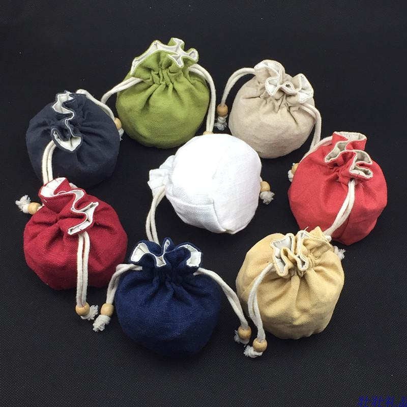 Round Bottom Drawstring Small Gift Bag Plain Linen Cotton Fabric Jewelry Pouches High Quality Bracelet Coin Storage Bucket bag