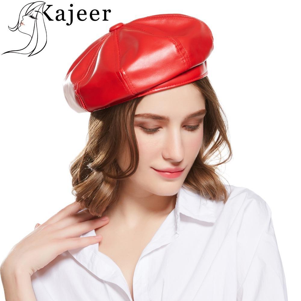b9b297a685553 Compre Kajeer Moda Elegante Dama Boina De Cuero Artificial Color Sólido  Simple Otoño Invierno PU Cuero Sombrero De Invierno Mujer Adulto Fijo A   35.08 Del ...