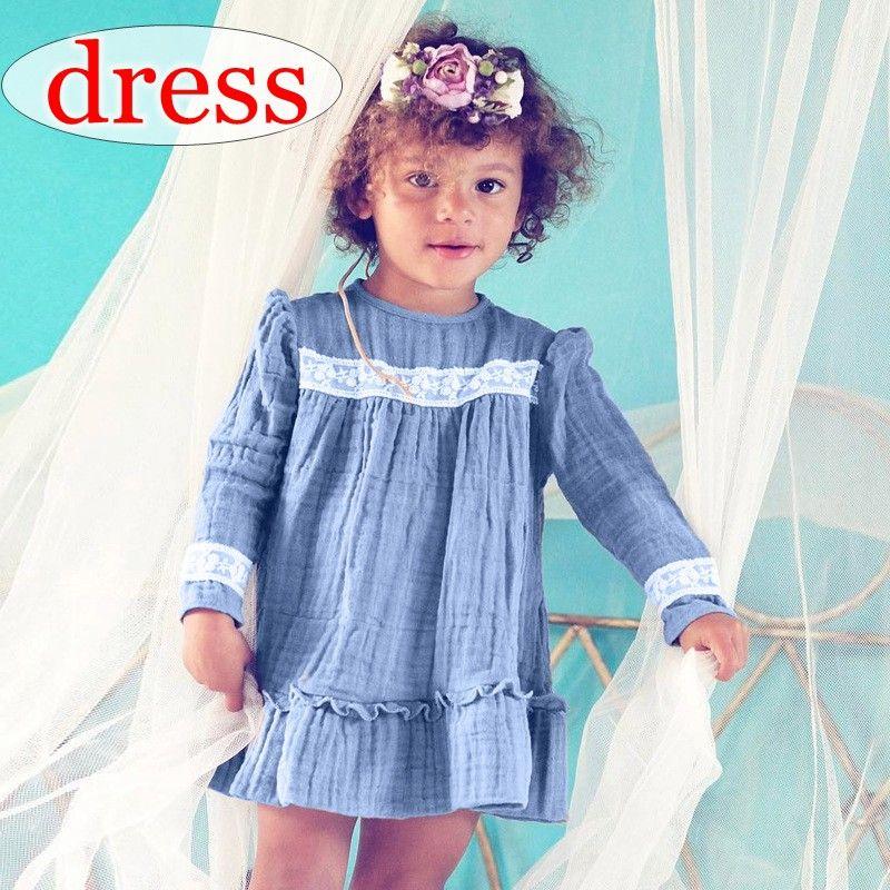 7e956a4212b 2019 Ins Girls Linen Cotton Blue Lace Ruffle Dress Girls Party Dresses Girls  Long Sleeved Princess Dresses Kids Spring Autumn Beach Dresses From Melee