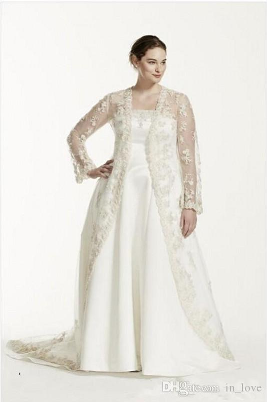 Discount Plus Size Wedding Dress With Lace Coat Long Sleeve