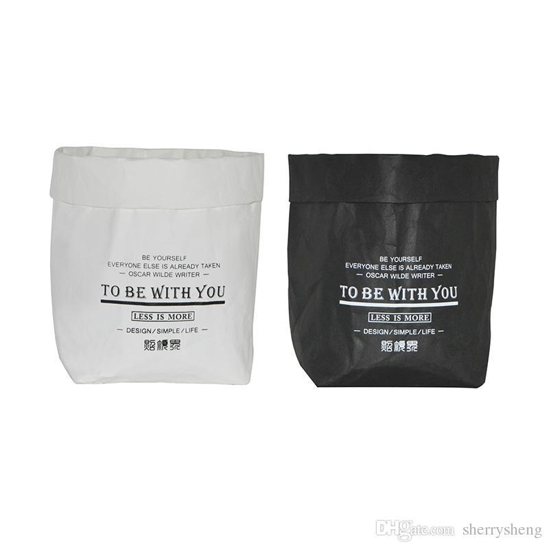 Washable Kraft Paper Storage Bag Bread Bag Flower Pot Case Laundry
