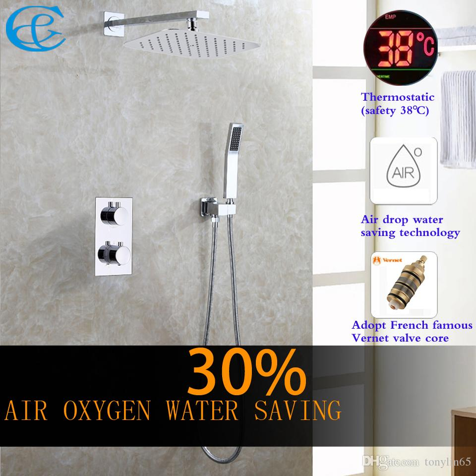 C&C Thermostatic Bathroom Shower Faucet Air Drop Water Saving Rain ...