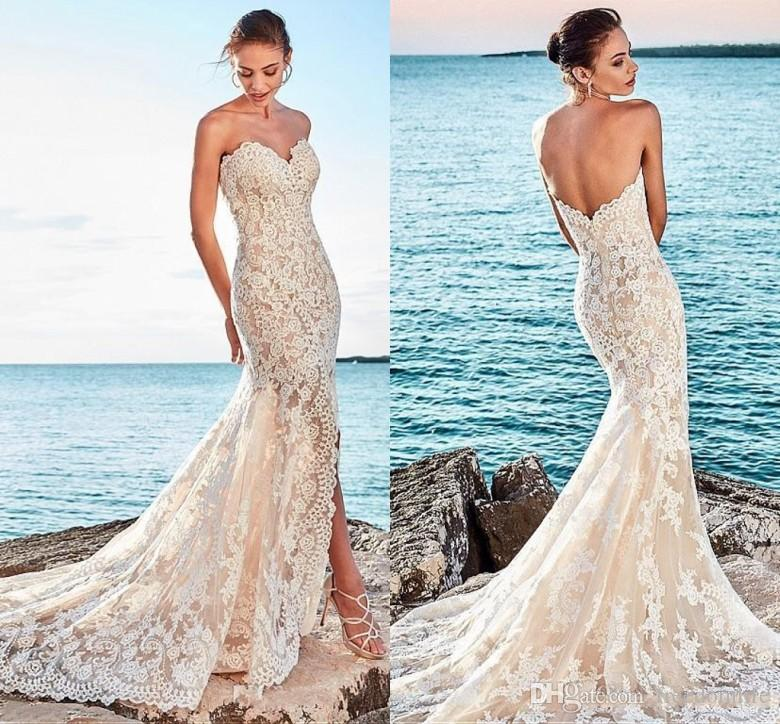 New Designer Champagne Split Beach Wedding Dresses 2018 Full Lace Mermaid Bridal Gowns Court Train Robe De Mariee