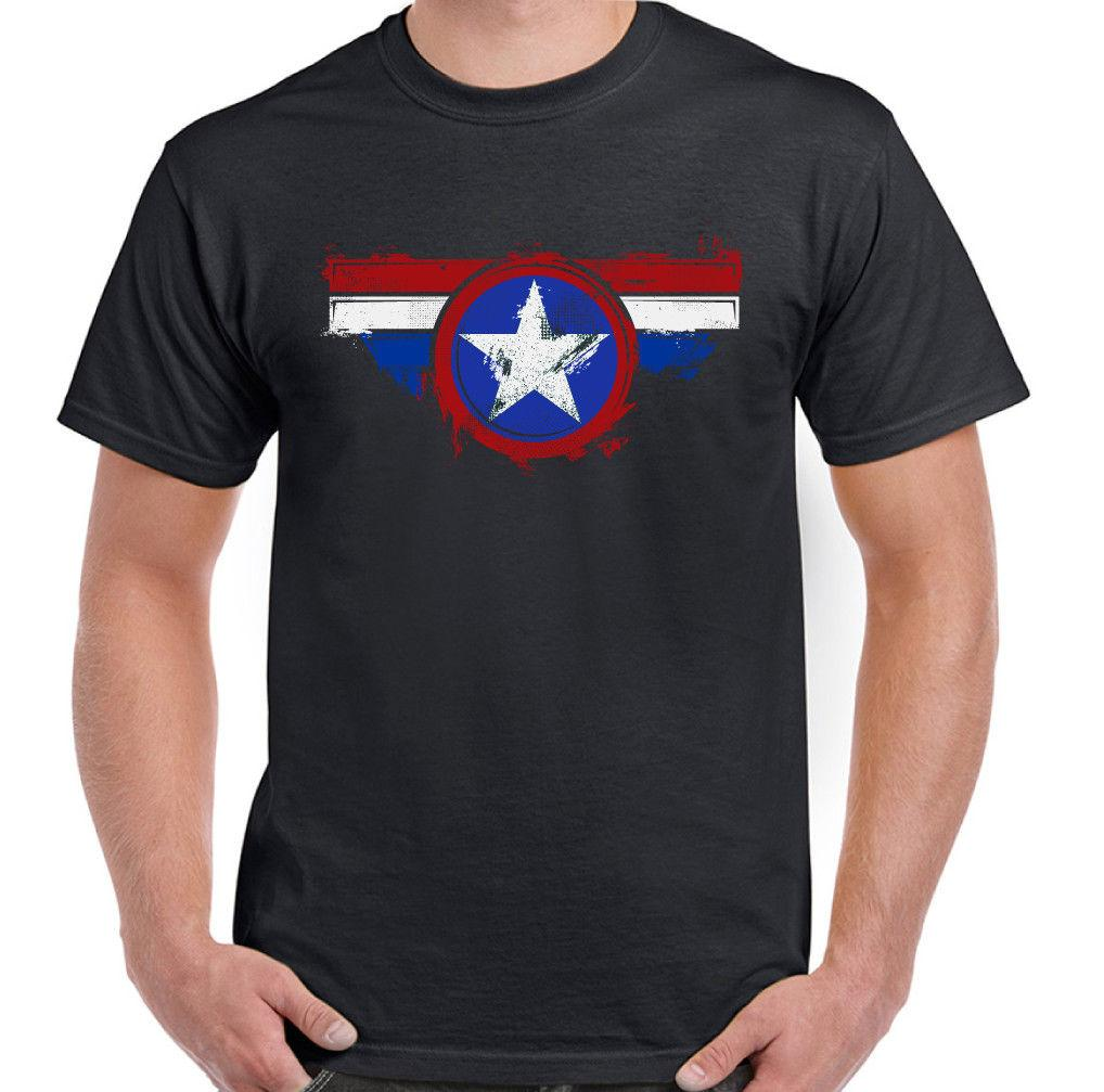 Distressed Captain Rogers Mens Funny Superhero T-Shirt Avengers 2018 hot tees custom printed tshirt free shipping cheap tee