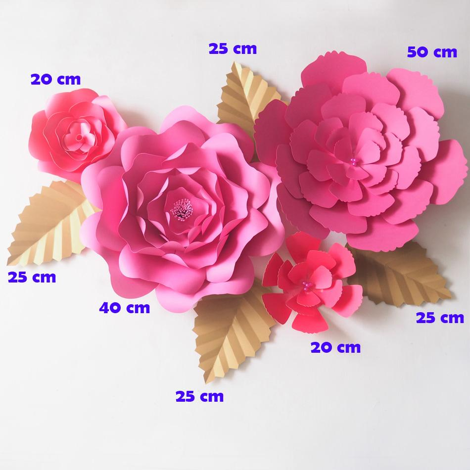2018 Diy Pink Giant Paper Flowers Backdrop Artificial Flower Leaves