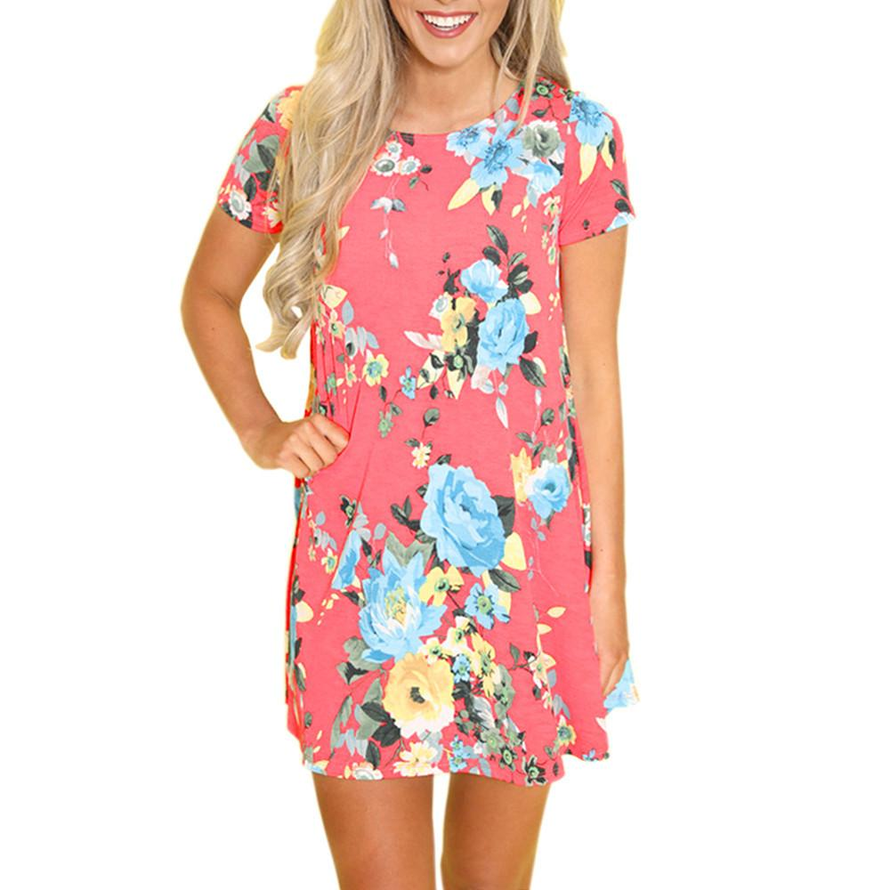 3d728c7a125 Good Quality Women Summer Short Sleeve Dresses Summer Vintage Floral  Striaght Casual Beach Party O Neck Daily Print Mini Dress Black Cocktail  Party Dress ...