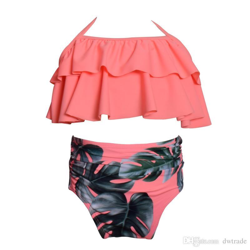 키즈 수영복 베이비 걸스 플로랄 수영복 수영복 Two-piece Bikini Set 수영복 Beachwear 소녀 하이 웨이스트 비키니 슬링 소녀 수영복